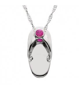 Necklaces - 0.07 Carat Round Cut Ruby Sandal Pendant in 14Kt White Gold