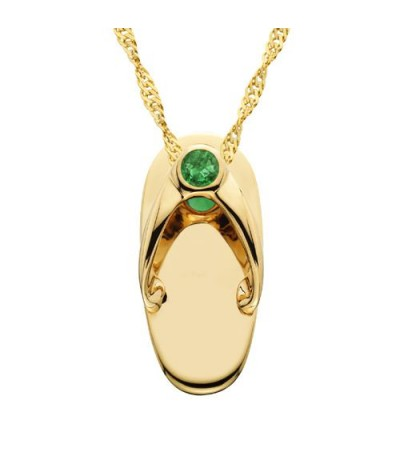 Necklaces - 0.06 Carat Round Cut Emerald Sandal Pendant in 14Kt Yellow Gold