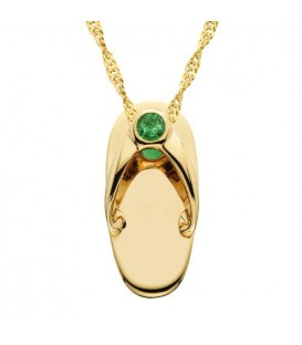Necklaces - 0.06 Carat Round Cut Emerald Sandal Charm in 14Kt Yellow Gold