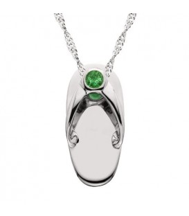 Necklaces - 0.06 Carat Round Cut Emerald Sandal Pendant in 14 Karat White Gold