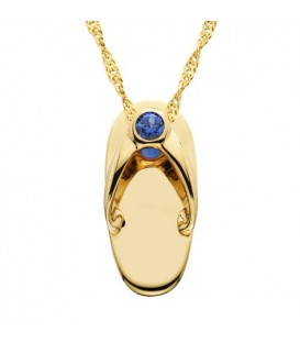 Necklaces - 0.07 Carat Round Cut Sapphire Sandal Pendant in 14 Karat Yellow Gold