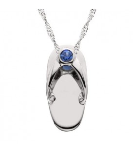 Necklaces - 0.07 Carat Round Cut Sapphire Sandal Pendant in 14Kt White Gold