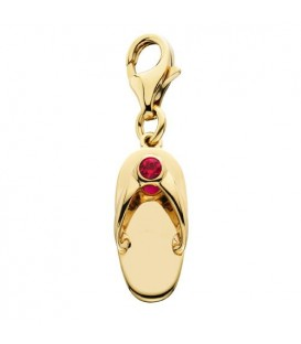 Charms - 0.07 Carat Round Cut Pink Sapphire Sandal Charm in 14Kt Yellow Gold