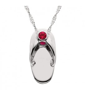 Necklaces - 0.07 Carat Round Cut Pink Sapphire Sandal Pendant in 14Kt White Gold