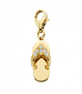Charms - 0.05 Carat Round Cut Diamond Sandal Charm in 14Kt Yellow Gold