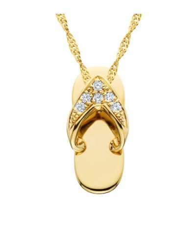 Necklaces - 0.05 Carat Round Cut Diamond Sandal Pendant in 14Kt Yellow Gold