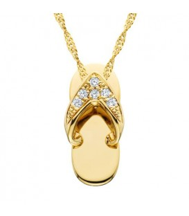0.05 Carat Round Cut Diamond Sandal Pendant in 14Kt Yellow Gold