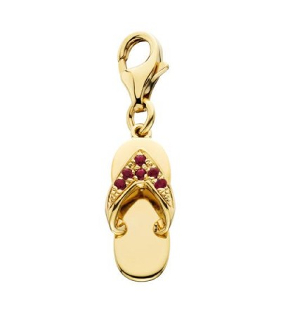 Charms - 0.07 Carat Round Cut Ruby and Diamond Sandal Charm in 14Kt Yellow Gold