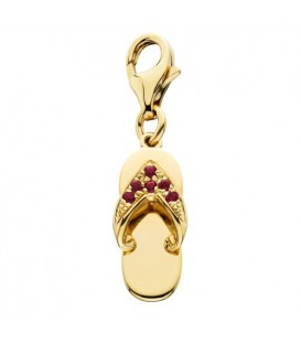 0.07 Carat Round Cut Ruby and Diamond Sandal Charm in 14Kt Yellow Gold
