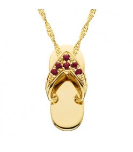 Necklaces - 0.07 Carat Round Cut Ruby and Diamond Sandal Pendant in 14Kt Yellow Gold