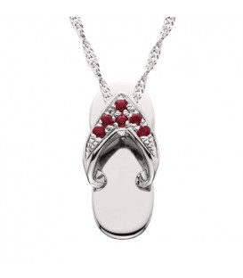 Necklaces - 0.07 Carat Round Cut Ruby and Diamond Sandal Pendant in 14Kt White Gold
