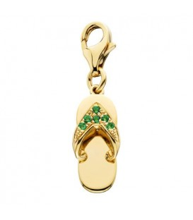 Charms - 0.06 Carat Round Cut Emerald Sandal Charm in 14Kt Yellow Gold