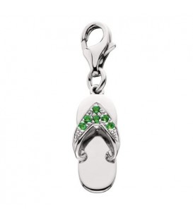 Charms - 0.06 Carat Round Cut Emerald Sandal Clip On Charm in 14Kt White Gold