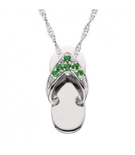 Necklaces - 0.06 Carat Round Cut Emerald Sandal Pendant in 14Kt White Gold