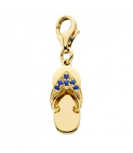0.07 Carat Round Cut Sapphire Sandal Clip On Charm 14Kt Yellow Gold