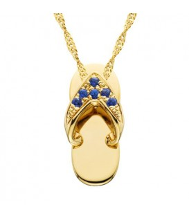 Necklaces - 0.07 Carat Round Cut Sapphire Sandal Pendant 14Kt Yellow Gold