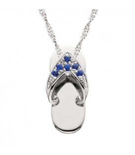 More about 0.07 Carat Round Cut Sapphire Sandal Pendant 14Kt White Gold