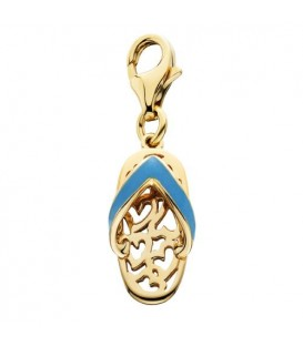 Charms - Enamel Sandal Charm 14Kt Yellow Gold