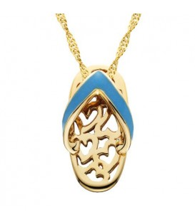 Necklaces - Enamel Sandal Pendant 14Kt Yellow Gold