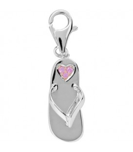 0.05 Carat Round Cut Pink Sapphire Sandal Charm 14Kt White Gold