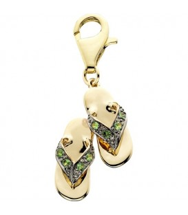 Charms - 0.10 Carat Round Cut Tsavorite Double Sandal Charm 14Kt Yellow Gold