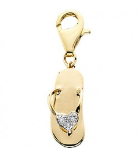 0.02 Carat Round Cut Diamond Sandal Charm 14Kt Yellow Gold