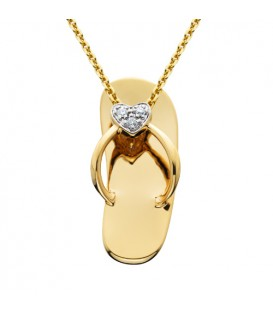 0.02 Carat Round Cut Diamond Sandal Pendant 14Kt Yellow Gold