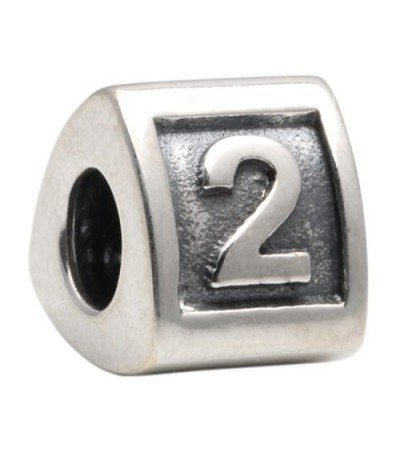 Charms - Number 2 Bead Charm 925 Sterling Silver