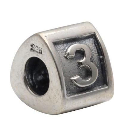 Charms - Number 3 Bead Charm 925 Sterling Silver