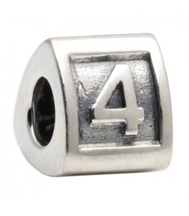 Number 4 Bead Charm 925 Sterling Silver
