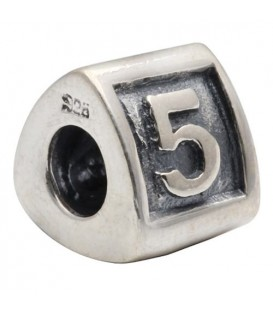 Charms - Number 5 Bead Charm 925 Sterling Silver