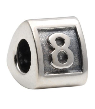 Charms - Number 8 Bead Charm 925 Sterling Silver