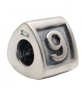 Charms - Number 9 Bead Charm 925 Sterling Silver