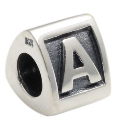 Charms - Letter A Bead Charm 925 Sterling Silver