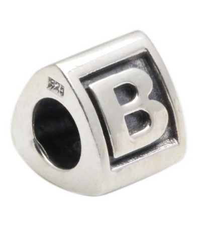 Charms - Letter B Bead Charm 925 Sterling Silver