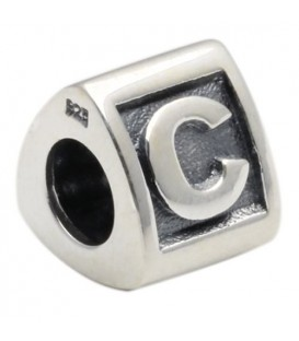 Letter C Bead Charm 925 Sterling Silver
