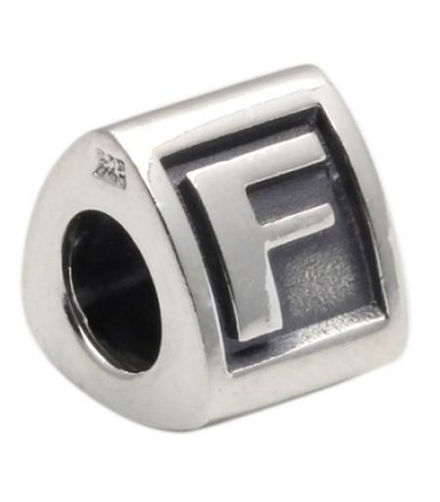 Charms - Letter F Bead Charm 925 Sterling Silver