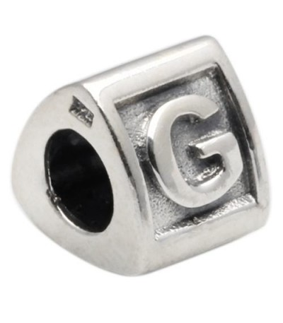 Charms - Letter G Bead Charm 925 Sterling Silver