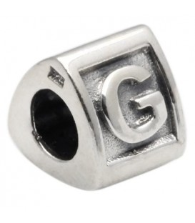 Letter G Bead Charm 925 Sterling Silver
