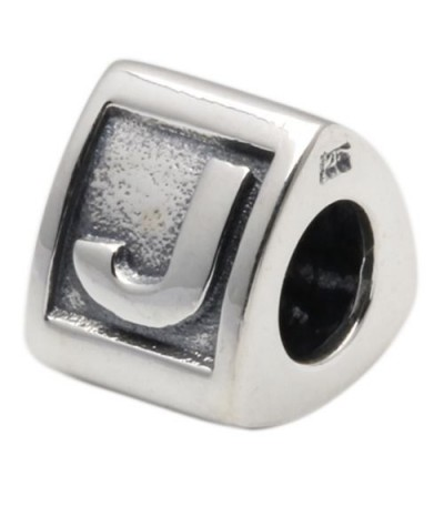 Charms - Letter J Bead Charm 925 Sterling Silver