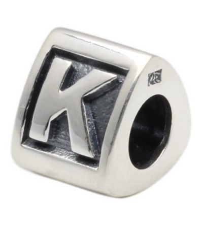 Charms - Letter K Bead Charm 925 Sterling Silver