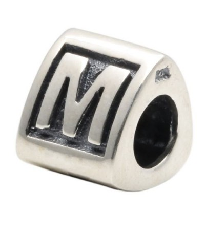 Charms - Letter M Bead Charm 925 Sterling Silver