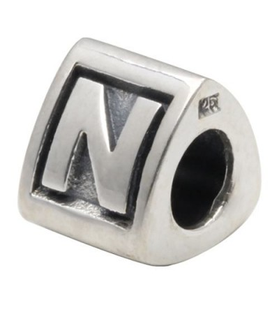 Charms - Letter N Bead Charm 925 Sterling Silver
