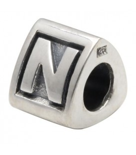 Letter N Bead Charm 925 Sterling Silver