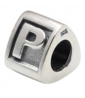 Letter P Bead Charm 925 Sterling Silver