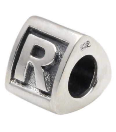 Charms - Letter R Bead Charm 925 Sterling Silver