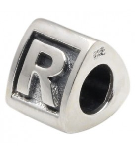 Letter R Bead Charm 925 Sterling Silver