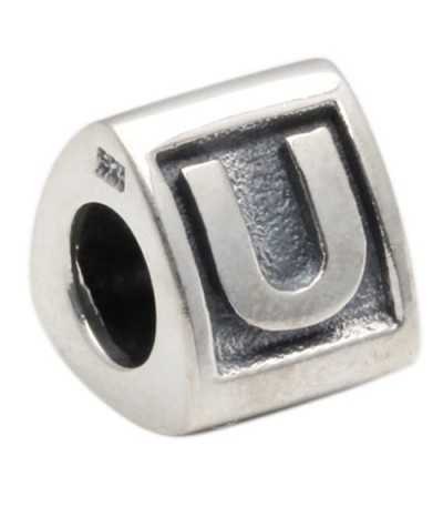 Charms - Letter U Bead Charm 925 Sterling Silver
