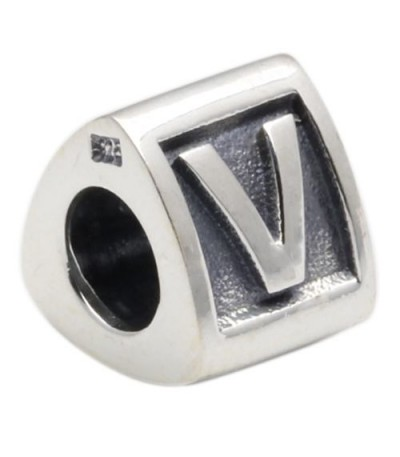 Charms - Letter V Bead Charm 925 Sterling Silver