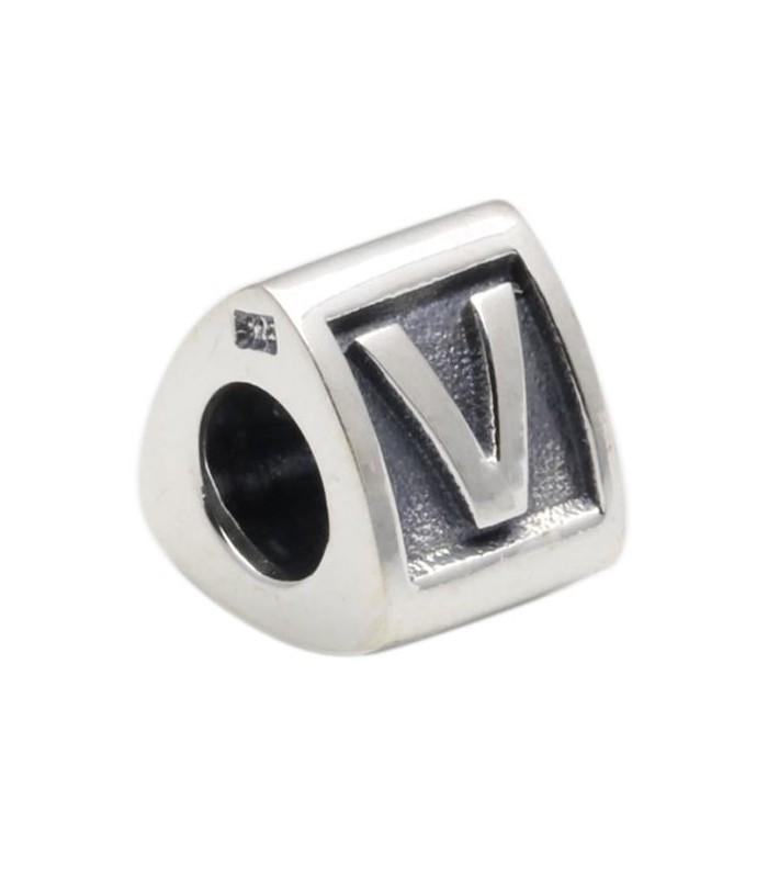 Alphabet V Bead Charm A to Z in 925 Sterling Silver I Amoro